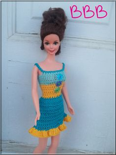 Crochet Barbie Clothes Blue and Yellow by BarbieBoutiqueBasics