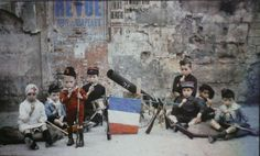 "In during the First World War, Leon Gimpel produced photos of children who had formed their own ""army"" Greneta the street in Paris and had fun playing war against the Germans. Paris 1900, Old Paris, Paris France, Les Illuminations, Subtractive Color, Weird Stories, World War I, Color Photography, Travel Photography"