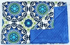 Medieval Blue Double Minky Baby Blanket - Adult Size - Ready to Ship! #kemaily