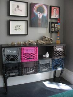 Forget the milk crate buffet. Dig the fat baseboard.  Plank topped with smaller baseboad maybe (?)