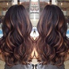 Dark brown hair with highlights by tanya