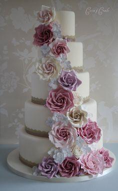 Vintage rose cascade wedding cake | Tracy James | Flickr
