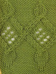 Joined cabled triangle knit panel with lace inside – free chart knitting stitch.