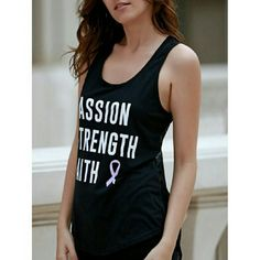Passion, Strength, Faith Racerback Tank Black and white racerback tank with mesh back. Tag displays a size larger than the actual fit. Please see measurements below.   Small - Bust: 15 inches, Length: 14 inches  Medium - Bust: 16 inches, Length: 14 inches   XLarge - Bust: 17.7 inches, Length: 14.8 inches Tops Tank Tops