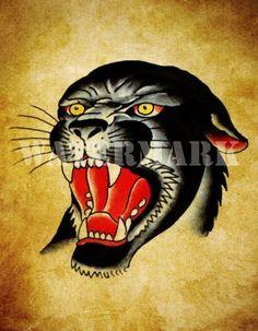 BLACK PANTHER Old School Tattoo Flash Art Print 8.5 x 11