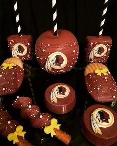 Football Sports Redskins Cake Pops Oreos Madeleine's Caramel Pretzels Birthday Treats Sugar Cookies, Chocolate Popcorn  Etsy.com/shop/candysimply Chocolate Dipped Cookies, Chocolate Popcorn, Chocolate Covered, Adult Birthday Cakes, Birthday Treats, Happy Birthday, Redskins Cake, Sports Food, Football Food