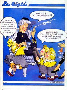 Les Triplés, langue de vipère. French Classroom, Teaching French, Vintage Comics, Learn French, French Language, Curiosity, Novels, Maternity, Scrap