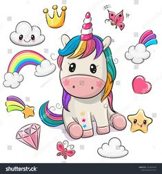 Cartoon Unicorn and set of cute design elements. Cute Cartoon Unicorn and set of cute design elements vector illustration Unicorn Drawing, Cartoon Unicorn, Baby Unicorn, Unicorn Art, Cute Unicorn, Unicorn Birthday, How To Draw Unicorn, Unicorn Images, Unicorn Pictures