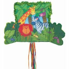Peek-a-Boo Jungle Pinata by Ya Otta. $28.17. Includes one package of 1.. This great pull string peek-a-boo Jungle Pinata features a giraffe, lion, zebra and more behind doors that unfold on this pinata, to provide a delightful decoration and game for your jungle party supplies.