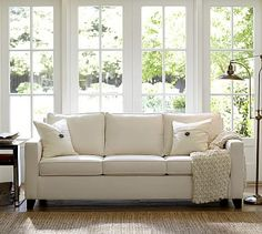 Cameron Upholstered Square Arm Sofa #potterybarn ($900-$1100 in the fabrics I'm currently considering)