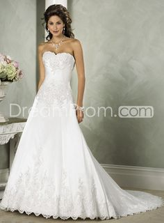 Gorgeous Satin White A-Line Sweetheart Strapless Embroidery Wedding Dresses