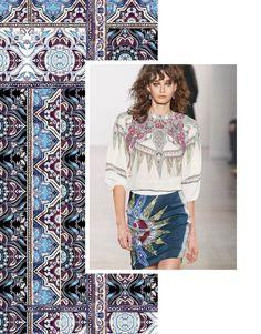 Autumn/Winter 21/22 Print Trend - Decorative Borders - Patternbank Geometric Patterns, Fashion Colours, Colorful Fashion, Ethnic Trends, Fashion Forecasting, Decorative Borders, Summer Patterns, Fashion Books, Textiles