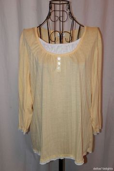 CHICO'S TOP 0 S Small Yellow White Layered Look 3/4 Sleeve Scoop Neck Ladies #Chicos #KnitTop #Casual
