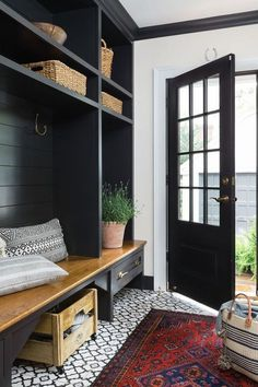 Beautifully renovated Dutch Colonial style home nestled in New England - Mudroom Style At Home, Decor Interior Design, Interior Decorating, Decorating Ideas, Decor Ideas, Porch Interior Ideas, Interior Design Photography, Lobby Interior, Foyer Decorating