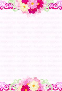 """そのまま印刷できる秋のフリーのイラスト素材コスモスのポストカード  Free Illustration of autumn Postcard of cosmos"""""""