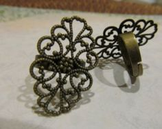 Antique Brass Filigree Adjustable Ring Settings by battybettysboutique. Explore more products on http://battybettysboutique.etsy.com