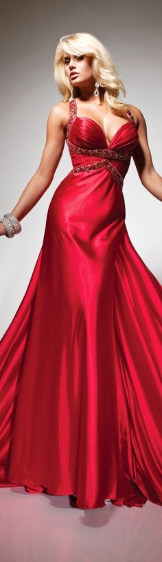 Tony Bowls Red Gown 2013/2014. Love the simple bodice and flowing skirt.