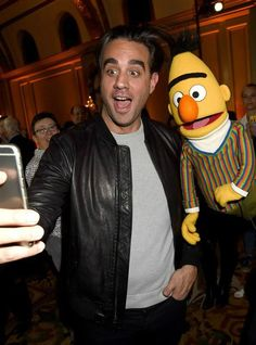 Bobby Cannavale poses with Bert during the HBO Winter 2016 TCA Reception at Langham Hotel in Pasadena, Calif., on Jan. 7, 2016
