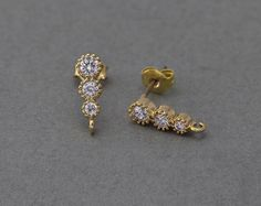 Polished Gold Plated over Brass / 2 Pcs - Gold Ring Designs, Gold Earrings Designs, Gold Jewellery Design, Bead Jewellery, Pendant Jewelry, Gold Pendant, India Jewelry, Diamond Jewellery, Necklace Designs