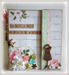 """Mini Album Shabby """"Bellos Recuerdos"""" / Shabby Chic Mini Album Scrapbook"""