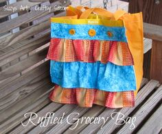 Easy to sew ruffled grocery bag tutorial. Made from a reusable grocery bag! Plus 4 other cute spring crafts. Diy Crafts And Hobbies, Easy Diy Crafts, Handmade Crafts, Diy Sewing Projects, Craft Tutorials, Craft Ideas, Tape Crafts, Fabric Crafts, Creative Mother's Day Gifts