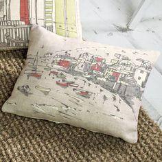 Dreams 'N' Drapes Falmouth Seaside Landscape Filled Boudoir Cushion, Green, 28 x 38 Cm