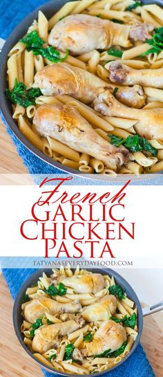 Tomato basil pasta video recipe by tatyanas everyday food french garlic chicken pasta with wilted spinach tatyanas everyday food forumfinder Gallery