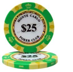 Lot of 25 $25 Monte Carlo 14 Gram Poker Chips Low / Free Shipping Options