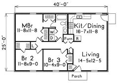 1000 square feet, 3 bedrooms, 1 batrooms, on 1 levels, Floor Plan Number 1 would alter bathrm, add 1/2 bath move furn to garage and add master bath