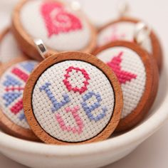 Cross Stitch Love Pendant from HandStitchedWithLove www.etsy.com