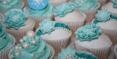 Decorated cupcakes at a Frozen birthday party! See more party planning ideas at CatchMyParty.com!