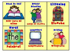 Labels for centers chart from Dual Language Classroom