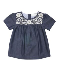 Chambray Floral Embroidered Top
