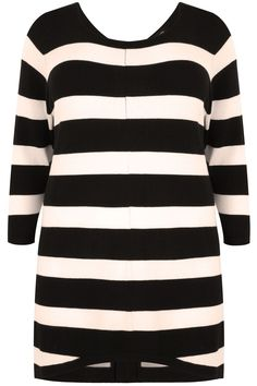 Black & Cream Stripe Longline Jumper With Zip Back