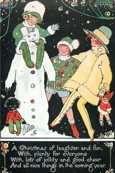 """""""A Christmas of laughter and fun, With plenty for everyone, With lots of jollity and good cheer, And all nice things in the coming year."""" ~ Snowman, vintage greeting card by Phyllis Cooper Vintage Christmas Images, Old Christmas, Retro Christmas, Vintage Holiday, Christmas Pictures, Christmas Greetings, Christmas Postcards, Christmas Holidays, Illustration Noel"""