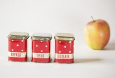 Polka dot tin canisters small Soviet red silver tins by SovietEra, $13.00
