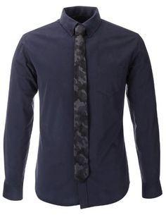 FLATSEVEN Mens Slim Fit Casual Cotton Shirts with Military Camo Pattern Tie (SH487) Navy, L FLATSEVEN http://www.amazon.com/dp/B00HMZZ948/ref=cm_sw_r_pi_dp_B5e3ub0ZR27YA #FLATSEVEN #Men #Slim Fit #Casual #Shirts #Camo #Tie #Fashion