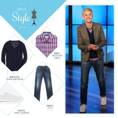 Ellen's Look of the Day: plaid button up, v neck sweater, tan blazer, jeans and white sneakers