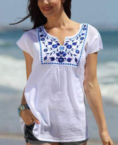 White V Neck Holiday Cotton-Blend Printed Shirts Tops – linenwe clothing shirts dinem shirt outfits blouse outfit fashion t shirt Tops Bordados, Outfit Chic, Shirt Blouses, T Shirt, Shift Dresses, White V Necks, White Embroidery, Mode Vintage, Linen Dresses