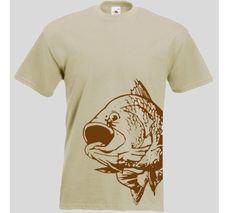 T-Shirt mit Fisch Druck braun / mehr Infos auf: www.Guntia-Militaria-Shop.de