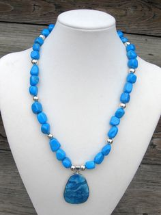 Turquoise Howlite, Pewter, and Agate Pendant Necklace - Howlite Necklace - Agate Pendant Necklace. $59.00, via Etsy.