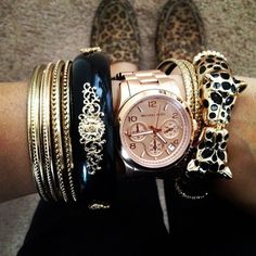 Bangles and rose gold watch
