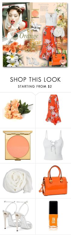 """ORANGE FLAIR"" by angelflair ❤ liked on Polyvore featuring Martha Stewart, Chloe Rose, Diane Von Furstenberg, MAC Cosmetics, LE3NO, Trilogy, JINsoon, orangeoutfit and popsoforange"