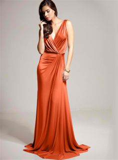 A gorgeous cross over gown which comes in a range of colours but we love this spicy shade of orange.