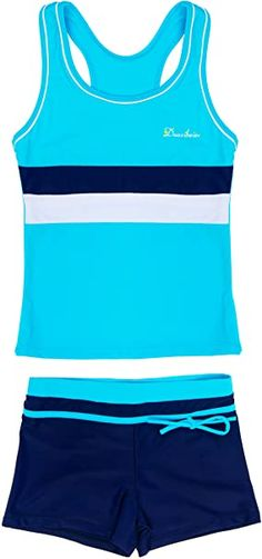 """82% Nylon/18% Spandex 0.7"""" high 14"""" wide This swimsuit Do Run A Little Large, when purchase,pls choose a size down if you needed. Before order, we'd like you to refer to our size chart in below description to select the suitable one. Notice: the size 3XL and 4XL is with detachable pads on the top Material: 82% Nylon + 18% Spandex Two pieces design with boyshort Trendy Summer Outfits, Outfits For Teens, Yellow Maxi Skirts, Blue Swimsuit, Summer Girls, Kids Girls, Toddler Girl, Tankini, Athletic Tank Tops"""
