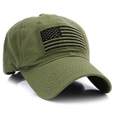d9da49e0a86 US Flag Patch Tactical Style Cotton Trucker Baseball Cap Hat Army Green  Flag Patches