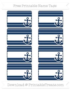 Free Navy Blue Horizontal Striped  Nautical Name Tags
