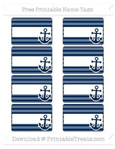 Free Navy Blue Horizontal Striped  Nautical Name Tags