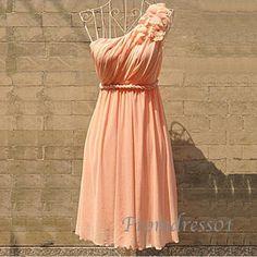 2015 cute pink princess one-shoulder vintage chiffon short prom dress for teens, bridesmaid dress, evening dress, ball gown #promdress #wedding #coniefox