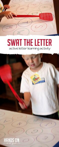 Find the Letter & Swat It! Active Way for Learning Letters! - Find the Letter & Swat It! Active Way for Learning Letters! Find the Letter & Swat It! via Jamie Reimer Preschool Literacy, Literacy Activities, Preschool Activities, Literacy Centers, Toddler Learning, Fun Learning, Teaching Kids, Hands On Learning, Gross Motor Activities
